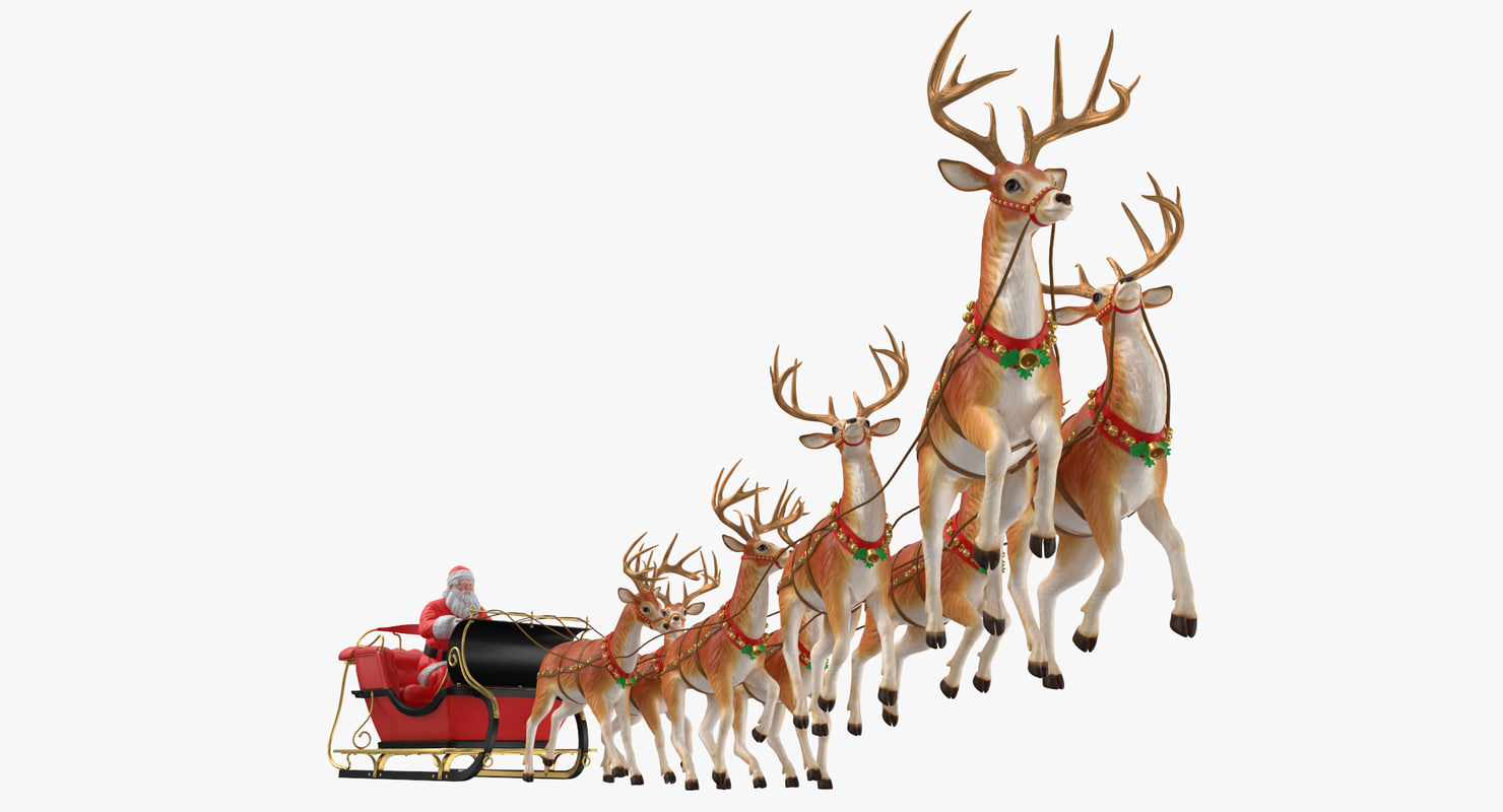 Santa Claus with Sleigh and Reindeer Flying 3D model ...